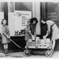 Girls Scouts Collect Cans for WWII
