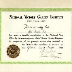 National Victory Garden Institute Certificate