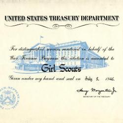 United States Treasury Department War Finance Certificate